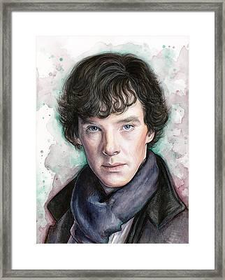Sherlock Holmes Portrait Benedict Cumberbatch Framed Print by Olga Shvartsur