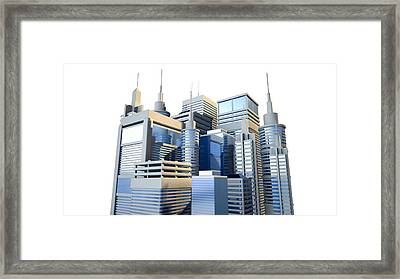 Shiny Modern City Cluster Framed Print by Allan Swart