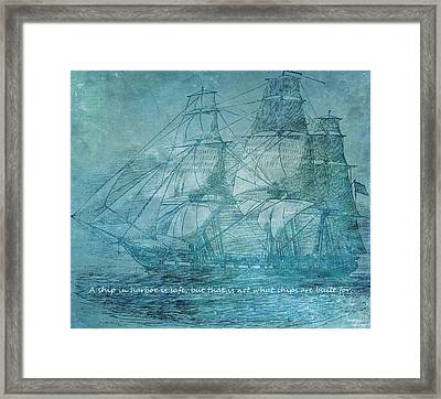 Ship 1 With Quote Framed Print by Angelina Vick