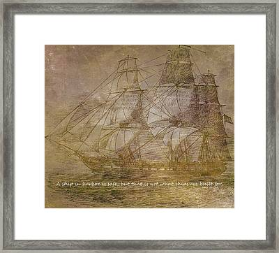 Ship 3 With Quote Framed Print by Angelina Vick