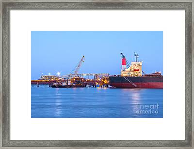 Ship And Port At Twilight Framed Print by Colin and Linda McKie