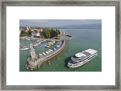 Ship Entering Lindau Harbor Lake Constance Germany Framed Print by Matthias Hauser