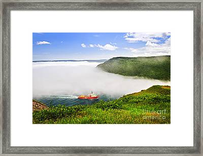 Ship Entering The Narrows Of St John's Framed Print by Elena Elisseeva