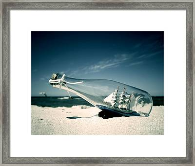 Ship In The Bottle Framed Print by Michal Bednarek