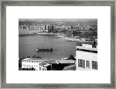 Ship In The Harbor At Valparaiso Framed Print by John Rizzuto