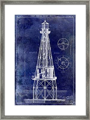 Ship Shoal Light House Blueprint Framed Print by Jon Neidert
