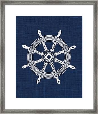 Ship Wheel Nautical Print Framed Print by Jaime Friedman