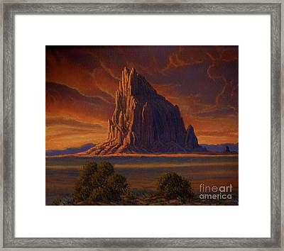 Shiprock Sunset Framed Print by Randy Follis
