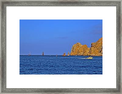 Ships Lining Up At Land's End Framed Print by Christine Till