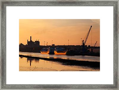 Ships Moored At The New Docking Framed Print by Panoramic Images