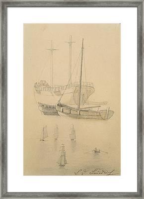 Ships  Framed Print by Caspar David Friedrich