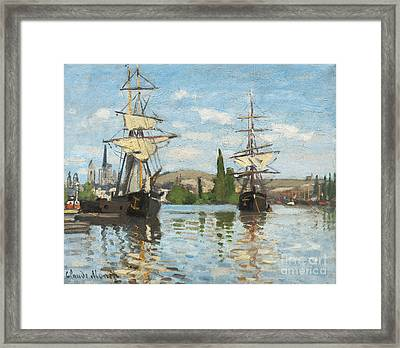 Ships Riding On The Seine At Rouen Framed Print by Claude Monet