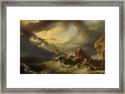 Shipwreck Off A Rocky Coast Framed Print by Mountain Dreams