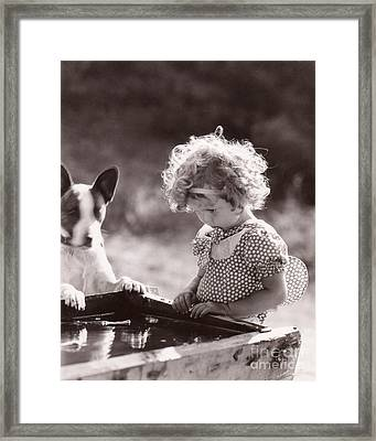 Shirley Temple And Dog - Sepia Framed Print by MMG Archives