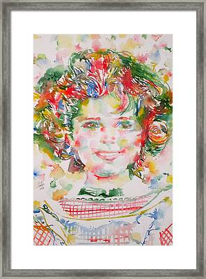 Shirley Temple - Watercolor Portrait.1 Framed Print by Fabrizio Cassetta
