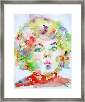 Shirley Temple - Watercolor Portrait.2 Framed Print by Fabrizio Cassetta
