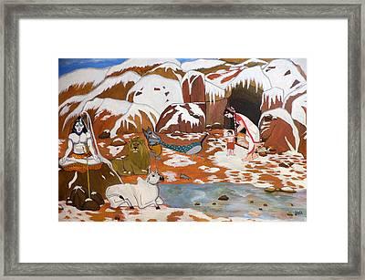 Shiva And His Family Framed Print by Pratyasha Nithin