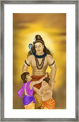 Shiva Family.  Framed Print by Mayur Sharma