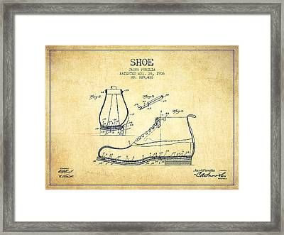 Shoe Patent From 1906 - Vintage Framed Print by Aged Pixel