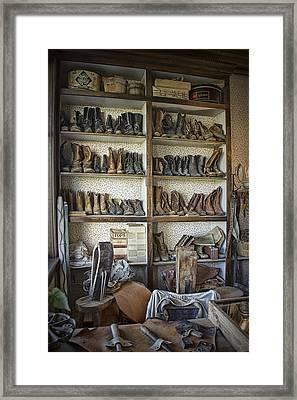 Shoe Repair Shop In 1880 Town Framed Print by Randall Nyhof