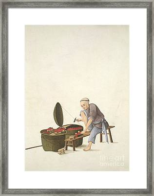 Shoemaker, 19th-century China Framed Print by British Library