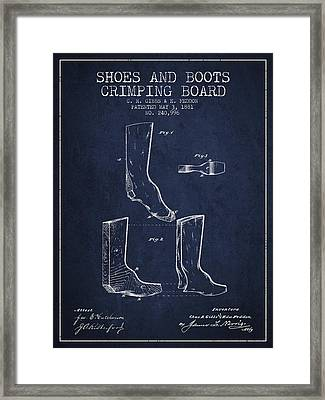 Shoes And Boots Crimping Board Patent From 1881 - Navy Blue Framed Print by Aged Pixel