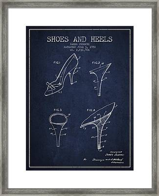 Shoes And Heels Patent From 1958 - Navy Blue Framed Print by Aged Pixel