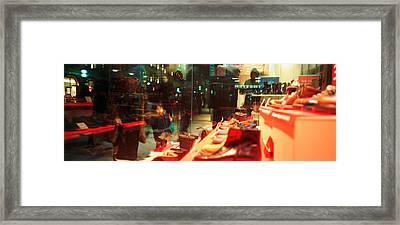 Shoes Displayed In A Store Window Framed Print by Panoramic Images