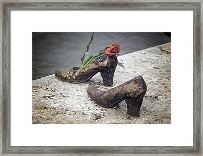 Shoes On The Danube Bank Framed Print by Joan Carroll