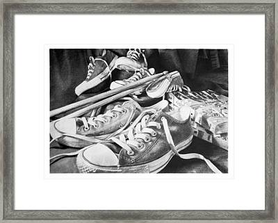Shoes Sticks And Comics Framed Print by L Fox