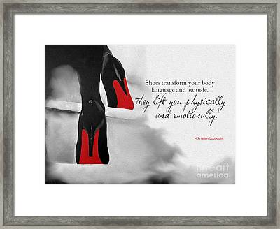 Shoes Transform You Framed Print by Rebecca Jenkins