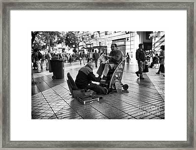 Shoeshine In Santiago Mono Framed Print by John Rizzuto