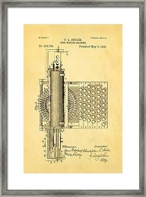Sholes Type Writing Machine Patent Art 2 1896 Framed Print by Ian Monk