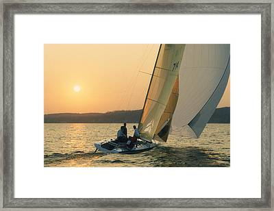 Shooting The Breeze - Lake Geneva Wisconsin Framed Print by Bruce Thompson