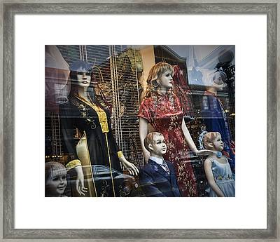 Shop Window Display Of Mannequins Framed Print by Randall Nyhof