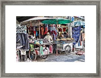 Shop With Carts Framed Print by Linda Phelps