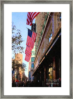 Shopping Along Market Street In San Francisco - 5d20717 Framed Print by Wingsdomain Art and Photography