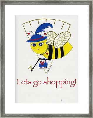 Shopping Bee Gilda Framed Print by Christy Woodland
