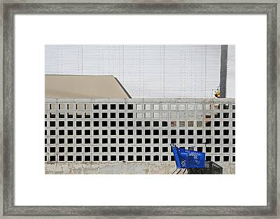 Shopping Cart Framed Print featuring the photograph Shopping Cart And Wall by Peter Veljkovich
