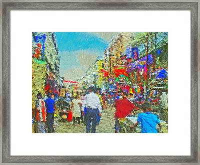 Shopping District In Varanasi India Framed Print by Digital Photographic Arts