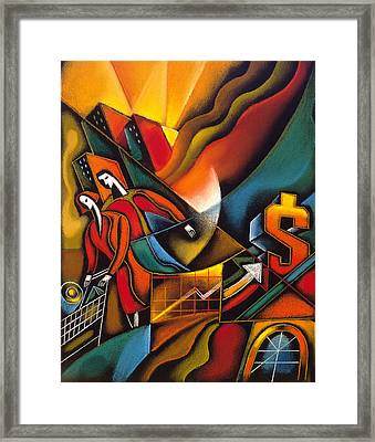 Shopping Cart Framed Print featuring the painting Shopping by Leon Zernitsky