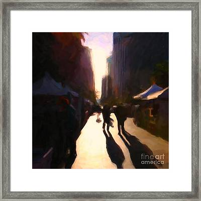Shopping Stands Along Market Street At San Francisco's Embarcadero - 5d20841 - Square Framed Print by Wingsdomain Art and Photography