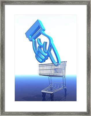 Shopping Trolley And Icon Framed Print by Victor Habbick Visions
