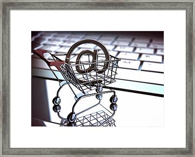 Shopping Trolley With An 'at' Sign Framed Print by Ktsdesign