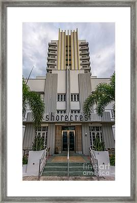 Shorecrest Hotel On South Beach Miami  Framed Print by Ian Monk