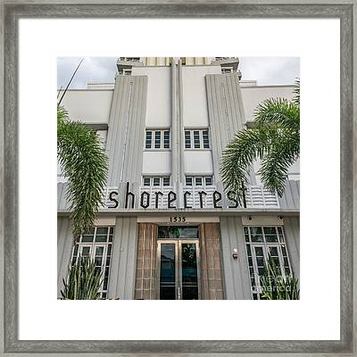 Shorecrest Hotel On South Beach Miami  - Square Crop Framed Print by Ian Monk