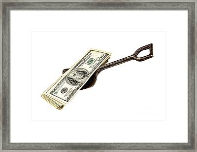 Shovel Of Dollar Framed Print by Olivier Le Queinec