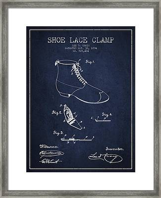 Show Lace Clamp Patent From 1894 - Navy Blue Framed Print by Aged Pixel