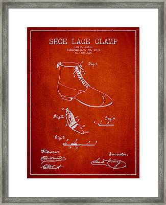 Show Lace Clamp Patent From 1894 - Red Framed Print by Aged Pixel