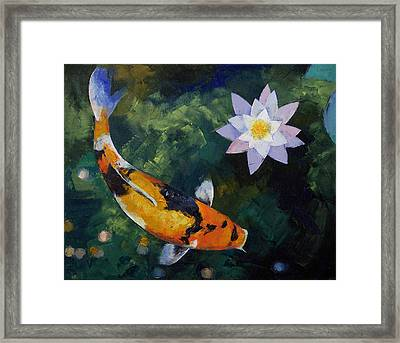 Showa Koi And Water Lily Framed Print by Michael Creese